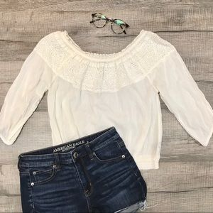 AERIE Boho Lace Off The Shoulder White Blouse Sz S